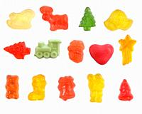 group of jelly candies on white background.