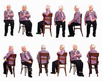 large group of same senior woman sitting on white background.