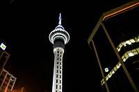 Sky City Tower. Night illumination. Auckland, New Zealand.