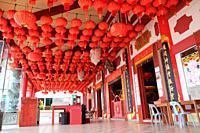 Red chinese lanterns in a chinese temple, kuching, sarawak, malaysia