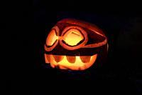 Glowing Halloween Pumpkin in the dark night.