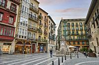 Santiago Square in Old Quarter, Bilbao, Biscay province, Basque Country, Euskadi, Spain, Europe.