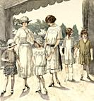 The latest fashions designed and tailored for the dressmaker and seamstress of Moniteur de la mode, Paris 1898. France, Europe. Old color lithograph f...