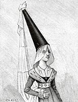 14th century Hennin bourgeois hairstyle. Old 19th century engraved illustration from La Nature 1893.