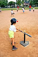 5 to 7 year old boys and girls taken baseball lessons by being introduced to T Ball baseball little league.