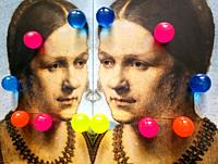 Women in Art, portrait of a young venetian woman painted by Albrecht Dürer in the year 1506, and twelve vivid colored balls reflected in a mirror.