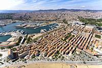Aerial view of La Barceloneta neighborhoud. Barcelona, Spain.
