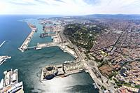 Aerial view of the port of Barcelona. Barcelona, Spain.