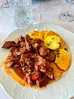 Ternera al desarreglo, traditional meat stew. Colmenar de Oreja, Madrid province, Spain.