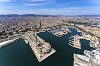 Aerial view of Barcelona from the sea. Barcelona, Spain.