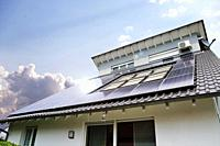 Single family house with solar system or photovoltaic system.