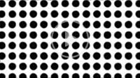 a lot of blurred horizontal black fluctuant circles in a line slowly moving away zooming out on background for engineering design symmetry concepts wi...