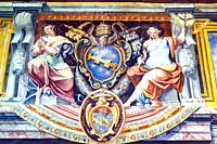 Decoration in the Gualtiero Hall in the Palace of the Popes - Viterbo Italy.