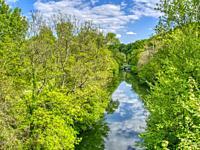 Dropt River and Roman bridge, Eymet, Dordogne Department, Nouvelle Aquitaine, France.