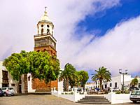 Travel impressions from Teguise, the former capital in the north of the Canary Island Lanzarote: Church Nuestra Señora de Guadalupe at the Plaza de la...