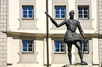 The statue of Don Juan de Austria on Zieroldsplatz in Regensburg, Bavaria, Germany.