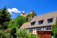 View of the ruins of medieval castle Hohenstein from the 12th century, municipality Kirchensittenbach, Franconian Alb near Nuremberg, Bavaria, Germany...