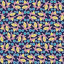 Three shapes pattern on a dark blue background. Geometric pattern.