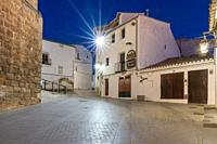 Requena in Valencia province a wine region of Spain Europe the castle by dusk.