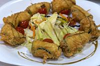 Zucchini rolls. Cheese zucchini rolls. Curd cheese zucchini rolls. Simple zucchini recipes. Zucchini rolls photo.