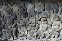 Relief of Ramayana scene where Monkey Army is building Rama's Bridge, Prambanan Temple, Yogyakarta, Central Java, Indonesia.