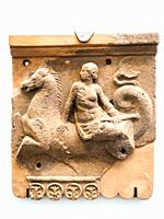 Slabs with Nereids on Triton. I sec BC. Terracotta. Pompeii archeological site, Italy.