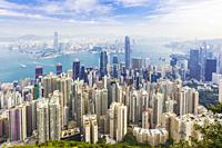Hong Kong, China. Overall view of Hong Kong, Victoria Harbour and Kowloon from Victoria Peak.