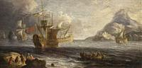 Flemish ships near the coast. Painted in 1601. Unknown artist. Naval Museum, Madrid.