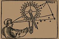 Observer using nocturnal at Cosmographicus Liber by Petrus Apianus, 1530.