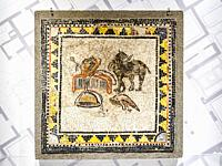 Mosaic with depiction of panther and Dyonysus simbols - Herculaneum, Italy.