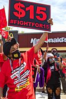 Detroit, Michigan - Fast food workers rally at a McDonald's restaurant for a $15 minimum wage. It was part of a one-day strike against McDonald's in 1...