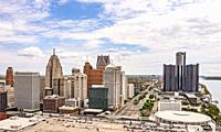 Detroit, Michigan - An aerial view of downtown Detroit.