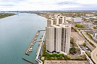 Detroit, Michigan - Riverfront Towers, a luxury apartment and condominium complex on the Detroit River near downtown.