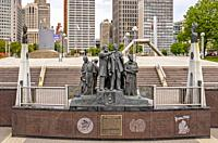 Detroit, Michigan - The Gateway to Freedom International Memorial to the Underground Railroad shows escaped slaves looking across the Detroit River to...