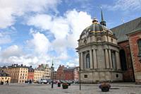Riddarholmen, Riddarholmskyrkan in Stockholm, Sweden.