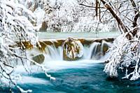 Dreamy scenery Winter season Plitvice lakes Croatia Europe