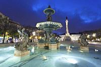 Fountain in Rossio square, Lisbon, Portugal.