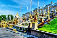 Grand Cascade and Grand Palace panorama. petrodvorets Russia.