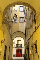 Buildingas and narrow streets around Bica quarter.