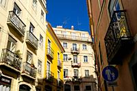 Sunny days lighting the buildings in São Bento area in Lisbon.