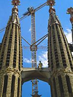 The unique dome towers of the Sagrada Familia in July 2005. It is one of Barcelona's major tourist attraction. The church is still under construction ...