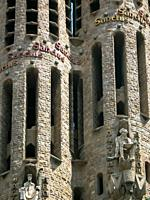 Detail on the towers of the Sagrada Familia - Barcelona, Spain. Visitors can climb up narrow spiral staircases in the tower to a small platform to get...