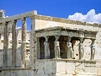 The Porch of Maidens on the south side of the temple of Erechtheion on the Acropolis - Athens, Greece.