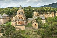Bozouls medieval castle and town on a canyon South of France, Aveyron Midi Pyrenees, nice view of the antique medieval stone buildings.