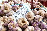 Decazeville Midi Pyrenees Aveyron France. Market at town hall square Aveyron France. Violet garlic stall.