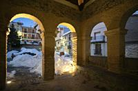 El Toro Castellon province Valencia Spain the village after Filomena snow storm. Illuminated town hall building.
