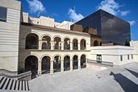 Lorca Murcia Spain historic old city in summer, the tourist office near the river.
