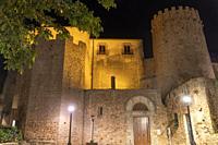 San Feliu de Gixols Girona Catalonia Spain Night view of the Mediterranean village . The monastery by night.
