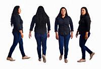 collage of same latin woman walking on white background.