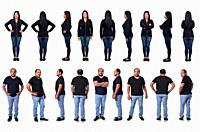 group of woman and man latin standing on white background.